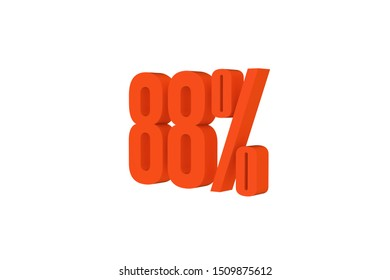 88 percent three-dimensional text in orange color isolated on white color background, 3d illustration.