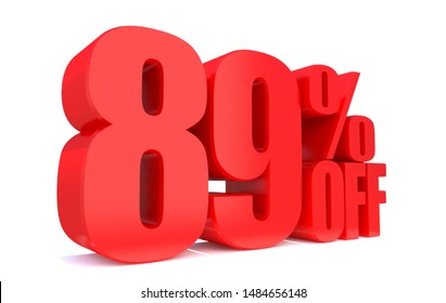 89 Percent off 3d Sign on White Background, Special Offer 89% Discount Tag, Sale Up to 89 Percent Off,big offer, Sale, Special Offer Label, Sticker, Tag, Banner, Advertising, offer Icon