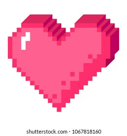 8bit pixel art heart in 3D perspective icon. Pink love sign made of cubes