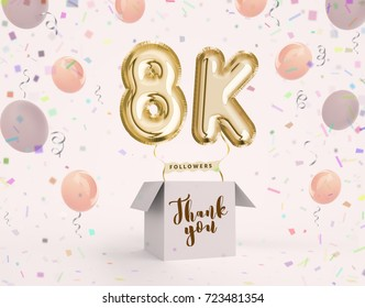 8k, 8000 followers thank you with gold balloons and colorful confetti. Illustration 3d render for social network friends, followers, web user Thank you celebrate of subscriber, followers, likes
