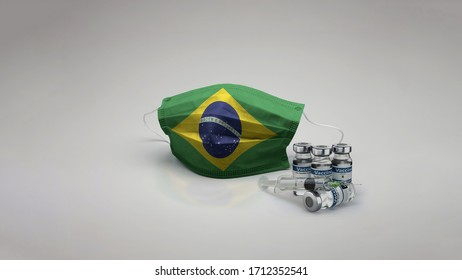 8K Brazil flag medical face mask coronavirus 3d rendering with vaccine of the country