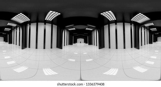 8K HDRI map, spherical environment panorama background, modern high contrast interior light source rendering, huge industrial hall (3d equirectangular render)