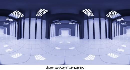 8K HDRI map, spherical environment panorama background, modern high contrast interior light source rendering, huge industrial hall (3d equirectangular render)