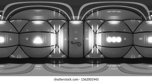 8K HDRI map, spherical environment as panorama background, elegant high contrast interior light source  (3d equirectangular illustration)