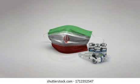 8K Iran Islamic State flag medical face mask coronavirus 3d rendering with vaccine of the country