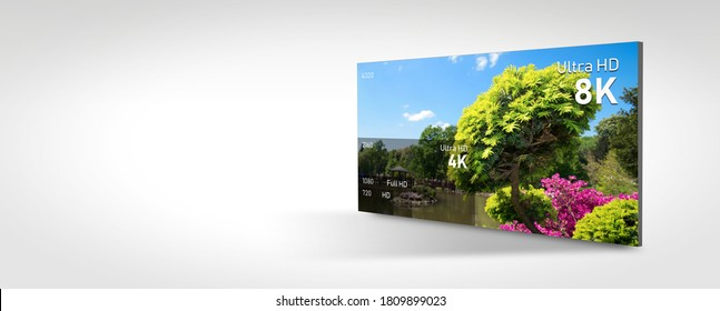 8K resolution display with comparison of resolutions. TV screen panel conceptual graphic. Web banner background