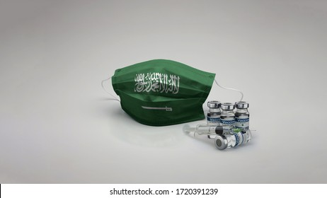 8K Saudi Arabia flag medical face mask coronavirus 3d rendering with vaccine of the country