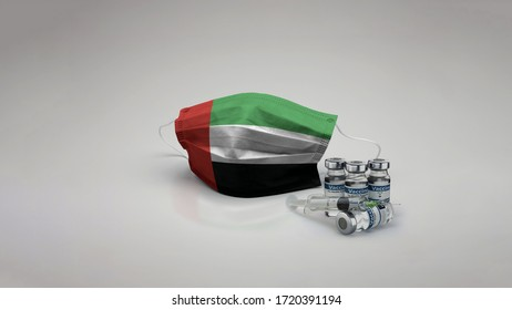 8K UAE - United Arab Emirates flag medical face mask coronavirus 3d rendering with vaccine of the country