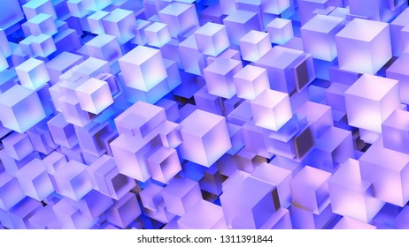 8K UHD Computer Generated 3D Cube Stack Art