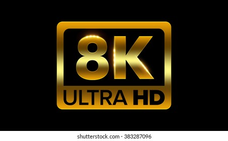 8k ultra hd icon with clipping path