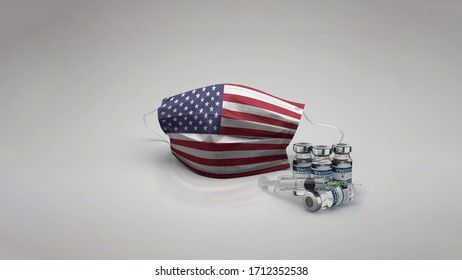 8K United States of America / USA flag medical face mask coronavirus 3d rendering with vaccine of the country