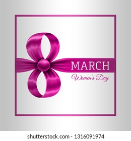 8th March Womens Day Banner.Pink Chrome Women's Day Design.