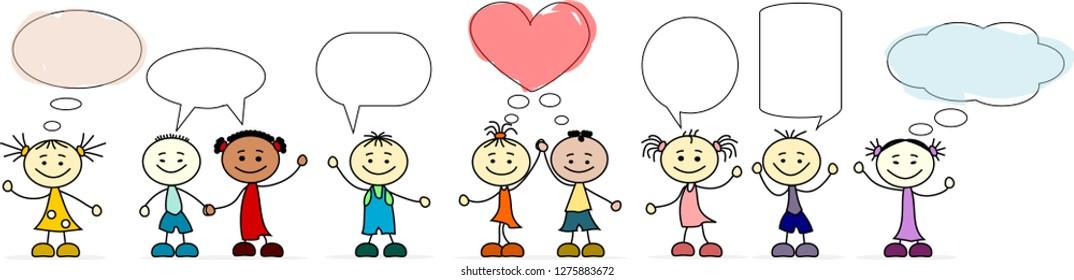 9 Children with speech bubbles