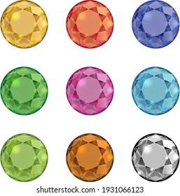 9 colors of diamond gold gems ruby pink green brown black blue diamonds set