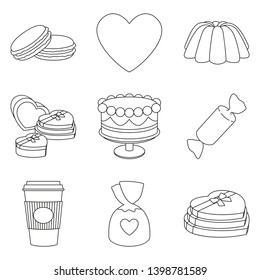 9 line art black and white romantic food elements. Love date invitation decor Valentine themed illustration for icon, stamp, label, certificate, brochure, gift card, poster or banner decoration