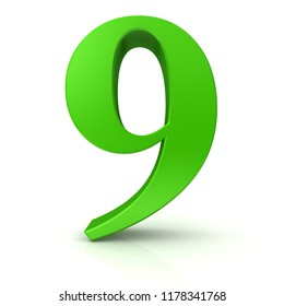 9 number nine green 3d rendering