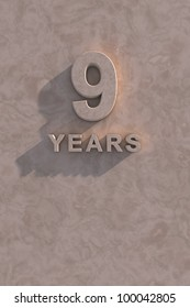 9 years 3d text with shadow and copy space
