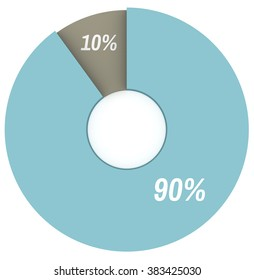 90 10 percent blue and grey pie chart isolated. Percentage infographics. 3d render circle diagram. Business illustration