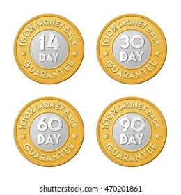 90, 30, 60, 14 money back guarantee golden silver coin website shop sign labels.