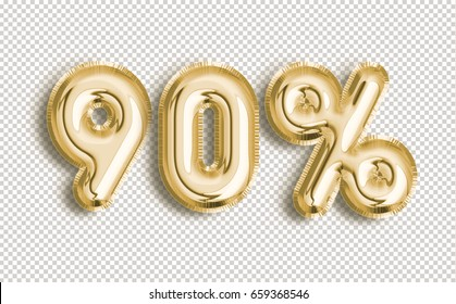 90% off discount promotion sale made of realistic 3d Gold helium balloons with Clipping Path. Illustration of balloon percent discount collection for your unique selling poster, banner, discount, ads.
