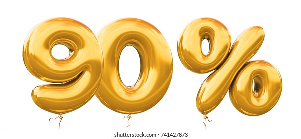 90% off discount promotion sale made of realistic 3d gold helium balloons. Illustration of balloon percent discount collection for your unique selling poster,banner ads ; Christmas, Xmas sale and more