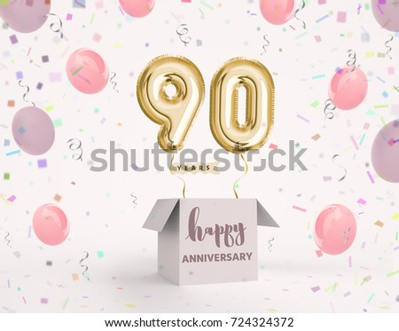 90 Years Anniversary Happy Birthday Joy Celebration 3d Illustration With Brilliant Gold Balloons Delight Confetti For Your Unique Greeting Card Banner