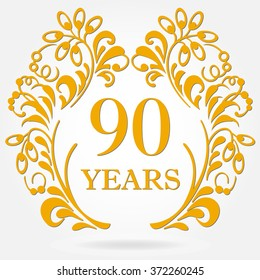 90 years anniversary icon in ornate frame with floral elements. Template for celebration and congratulation design. 90th anniversary golden label.