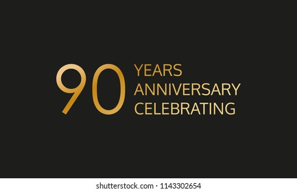 90 years anniversary logo. 90th anniversary celebration label. Design element or banner for birthday, invitation, wedding jubilee.
