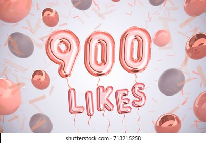 4d723cf4fb5 900 like or nine hundred likes, followers thank you with Rose Gold balloons  and colorful