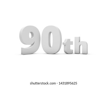 90th Anniversary. 3D Rendering Illustration Isolated On White Background.