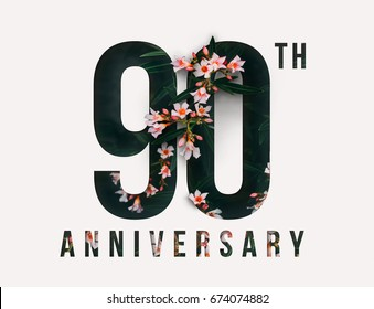 90th Anniversary celebrate illustration design by Real flowers with precious paper cut . For your unique anniversary background, invitation, card, birthday, celebration party of the years anniversary