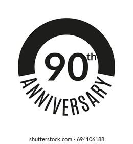 90th anniversary icon. 90 years celebrating or birthday logo.