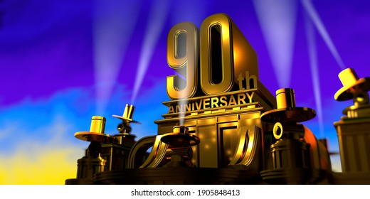 90th anniversary in thick letters on a large golden antique style building illuminated by 6 floodlights with white light on a blue sky at sunset. 3D Illustration