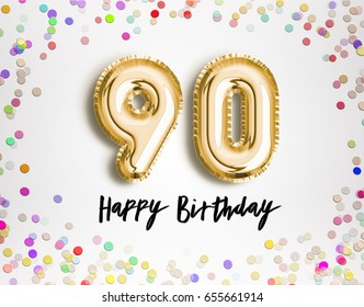 90th Birthday Celebration With Gold Balloons And Colorful Confetti Glitters 3d Illustration Design For Your