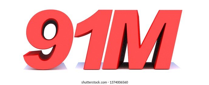 91M or 91 million followers thank you 3d word on white background. 3d illustration for Social Network friends or followers, like