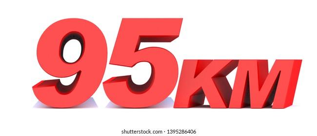 95 km. 95 kilometer word on white background. 3d illustration