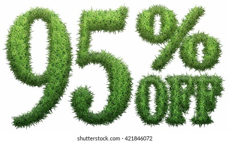 95% off. Made of grass. Isolated on a white background. 3D rendering