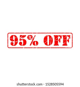95% off on white background. ninety five Percent Off Promotional Advertising Banner. Special offer, great offer, sale.  Label and Tag with stamp effect
