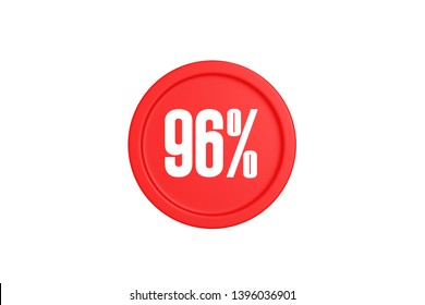 96 percent in red color circle isolated on white background, 3d illustration.