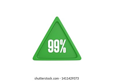 99 percent in green color triangle isolated on white background, 3d illustration.