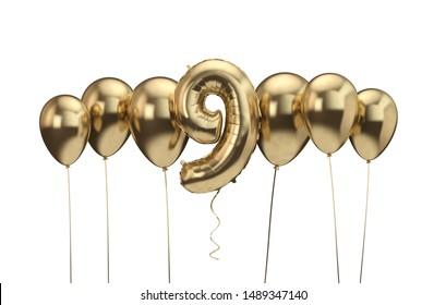 9th birthday gold balloon background. Happy Birthday. 3D Rendering