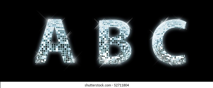 A, B, C - font made from a disco ball