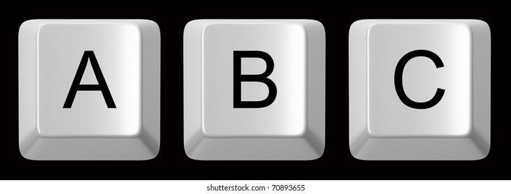 A, B, C white computer keys alphabet