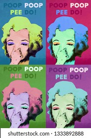 A3 colorful digital illustration inspired with Merilyn Monroe character and movie Some like it hot.  Funny poster design for toilets in Andy Warhol style. Multiple portrait illustration poster
