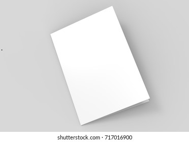 A3 half-fold brochure blank white template for mock up and presentation design. 3d illustration.