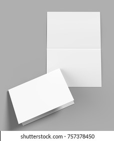 A3 half-fold horizontal brochure blank white template for mock up and presentation design. 3d illustration.