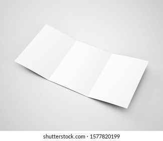 A4 A5 Three 3 Fold Tri Fold Brochure 3D Rendered White Blank Mockup