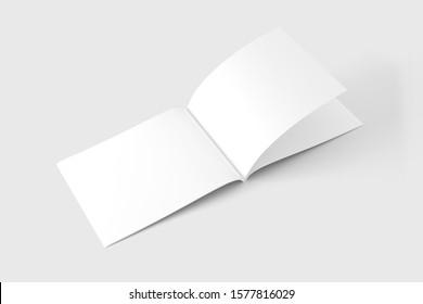 A4 A5 US Letter Landscape Horizontal Magazine Brochure 3D Rendering White Blank Mockup