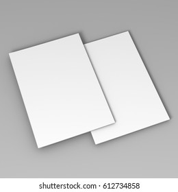 A4 bifold brochure template 3d rendering for mock up.