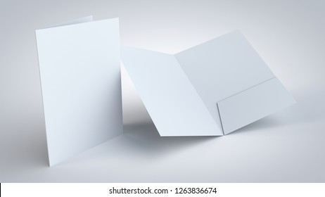 A4 commercial one pocket folder realistic 3D rendering, for corporate branding and marketing presentation mockup.